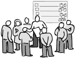 drawing of a meeting