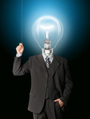 business man turn on his bulb head
